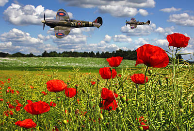 Photograph - Spitfires And Poppy Field by Ken Brannen