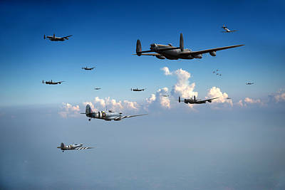 Photograph - Spitfires Escorting Lancasters by Gary Eason