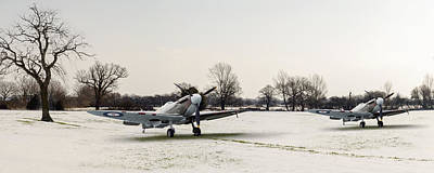 Digital Art - Spitfires In The Snow by Gary Eason