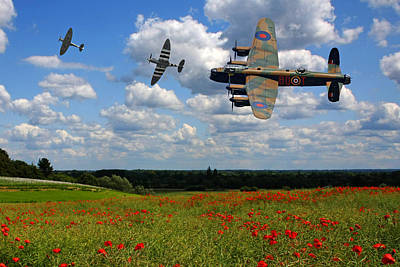 Photograph - Spitfires Lancaster And Poppy Field by Ken Brannen