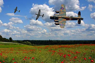 Photograph - Spitfires Lancaster And Poppy Field by Ken Brannen