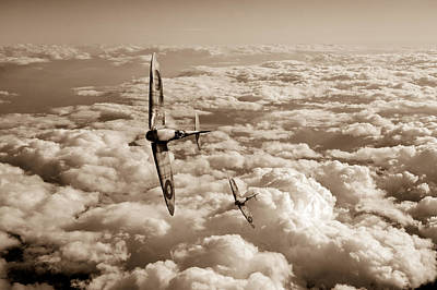Spitfires Turning In Sepia Version Art Print by Gary Eason