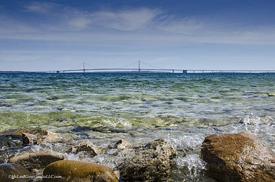 Photograph - Mackinac Bridge The Splash by LeeAnn McLaneGoetz McLaneGoetzStudioLLCcom