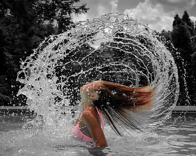 Hair Flip Splash Art Print