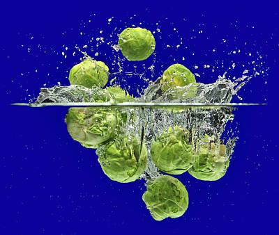 Splash-brussels Sprouts Art Print