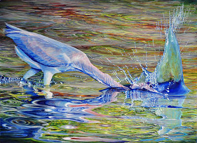Art Print featuring the painting Splash Fishing by AnnaJo Vahle