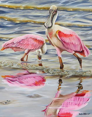 Spoonbill Painting - Splash Of Pink by Phyllis Beiser