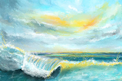 Surfing Art Painting - Splash Of Sun - Seascapes Sunset Abstract Painting by Lourry Legarde