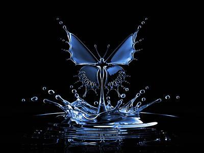 Splash Of Water Butterfly Art Print by Blackjack3d