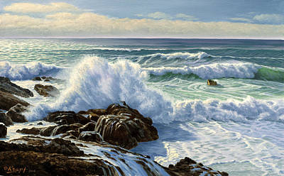 California Coast Painting - Splash Seascape by Paul Krapf