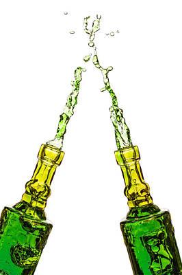 Photograph - Splashing Bottles by Peter Lakomy
