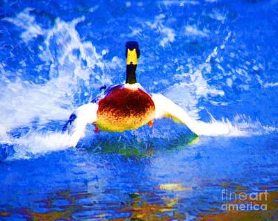 Digital Art - Splashy Mallard  by Luther Fine Art