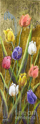Splashy Painting - Splashy Tulips II With Gold Leaf By Vic Mastis by Vic  Mastis