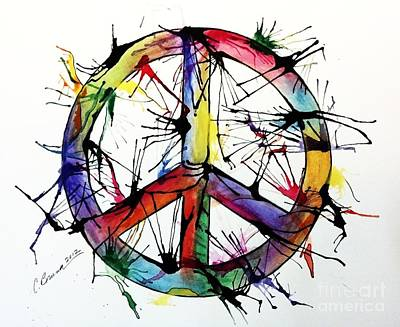 Painting - Splatter Peace by Christy Bruna
