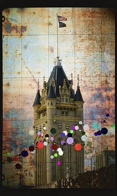 Public Jail Digital Art - Splattered County Courthouse by Daniel Hagerman