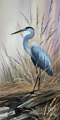 Artist James Williamson Great Blue Heron Painting - Splendor Of Nature by James Williamson