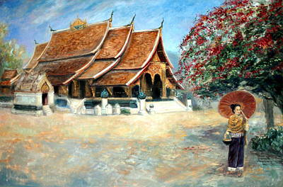 Laos Painting - Splendour Of Xieng Thong by Sompaseuth Chounlamany