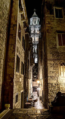 Photograph - Split Cathedral From The Temple Of Jupiter At Night Croatia by Weston Westmoreland