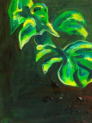 Philodendron Painting - Split Leafed Philodendron by Kendall Wishnick Adams