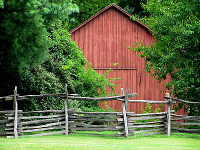 Photograph - Split Rail Fence And Barn In Old Salem by Randall Weidner