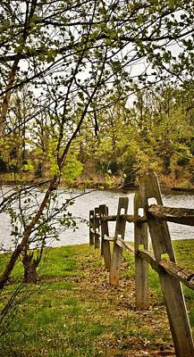Split Rail Fence Digital Art - Split Rail Fence To Water by Greg Jackson