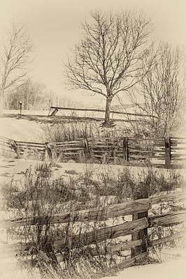 Split Rail Fence Photograph - Split Rail Winter Sepia by Steve Harrington