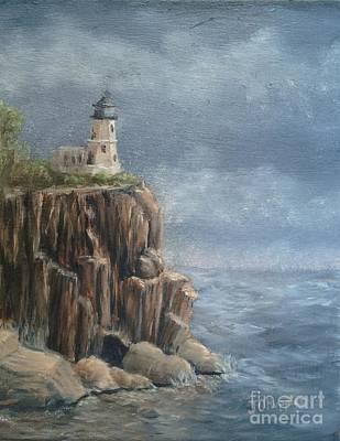 Split Rock Lighthouse Painting - Split Rock Light House  by J O Huppler