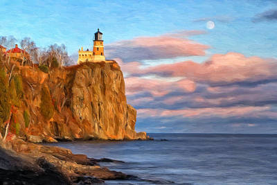 Historic Lighthouses Painting - Split Rock Lighthouse Afternoon by Michael Pickett