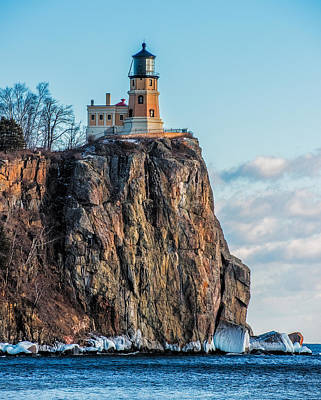 Split Rock Lighthouse In Winter Art Print