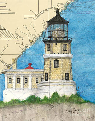 Split Rock Lighthouse Painting - Split Rock Lighthouse Mn Nautical Chart Map Art by Cathy Peek