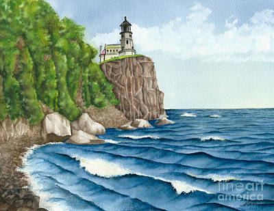 Painting - Split Rock Lighthouse Was A Beacon To Sailors by Nan Wright
