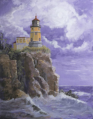 Historic Lighthouses Painting - Split Rock Magic by Jerry McElroy