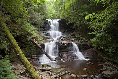 Photograph - Split Summer Flow Over Tuscarora's Ledge  by Gene Walls