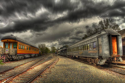 Old Sacramento Photograph - Split Trains by Tracy Thomas