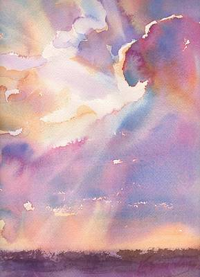 Sun Rays Painting - Splits The Silver Lining by Yevgenia Watts