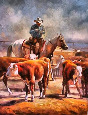 Working Cowboy Painting - Splitting The Heard by Studio Artist