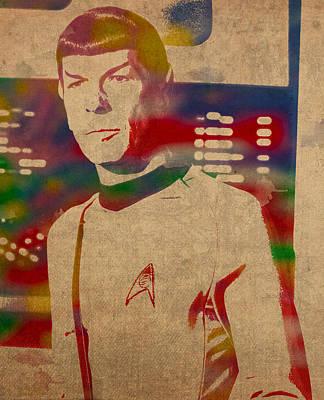 Spock Star Trek Leonard Nimoy Watercolor Portrait On Worn Distressed Canvas Print by Design Turnpike