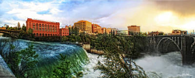 Spokane Falls City Skyline Art Print by Dan Quam