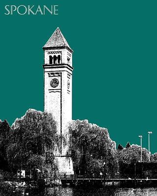Spokane Skyline Clock Tower - Sea Green Art Print by DB Artist