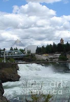 Canoe Waterfall Painting - Spokane Washington Riverfront Park Spokane Falls by Windy Mountain