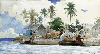 Winslow Homer Seascape Painting - Sponge Fishermen by Winslow Homer