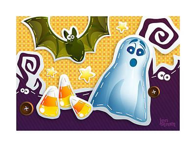Candy Corn Digital Art - Spook-a-boo by Jen Street