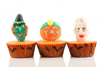 Spooks Cup Cakes On White Background Art Print by Simon Bratt Photography LRPS