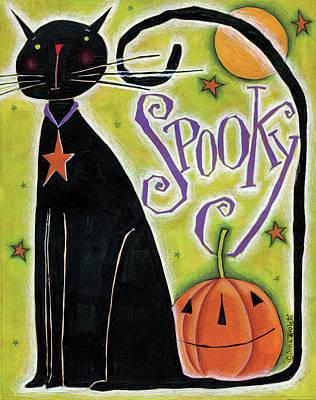 Pumpkins Painting - Spooky by Anne Tavoletti
