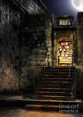 Spooky Backlit Door Way In Moon Light Art Print by Oleksiy Maksymenko