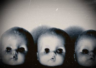 Spooky Doll Heads Art Print