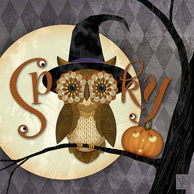 Digital Art - Spooky Owl by Valerie Drake Lesiak