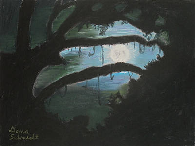 Painting - Spooky Super Moon Aug. 8 2014 by Dana Schmidt