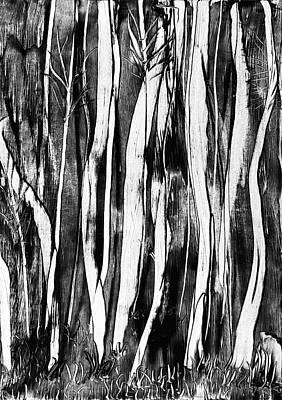 Spooky Scene Painting - Spooky Trees Wax Painting by Tisha Art