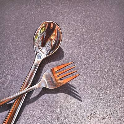 Drawing - Spoon And Fork 1 by Elena Kolotusha